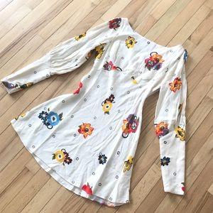 Free People (NWT) ivory flowered boho dress